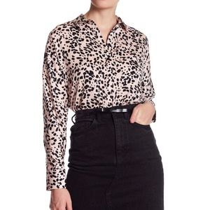 NWT TOPSHOP Animal Print Leopard button up